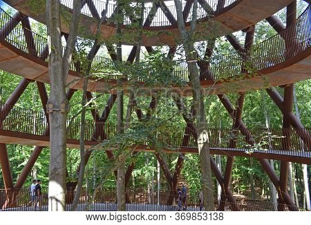 Haslev, Denmark; 06/20/2019: A Helical Tower That Invites You To Climb Up Above The Treetops Of The