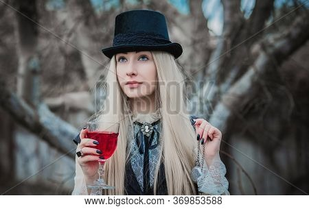 Aristocratic Vampire Cosplay, Victorian Gothic Style. Halloween Or Masquerade Ideas