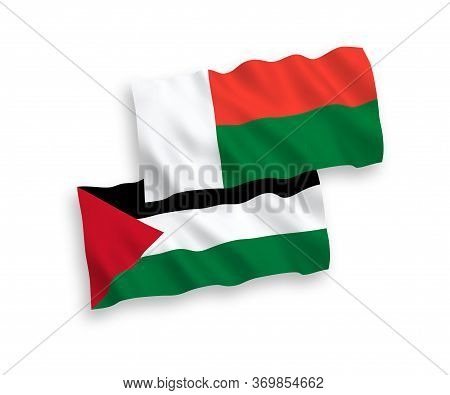 National Fabric Wave Flags Of Madagascar And Palestine Isolated On White Background. 1 To 2 Proporti