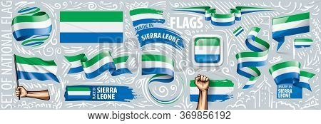 Vector Set Of The National Flag Of Sierra Leone In Various Creative Designs