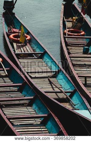Amazon River With Small Colorful Boats, Transportation In The River, Ecuadorian Amazon