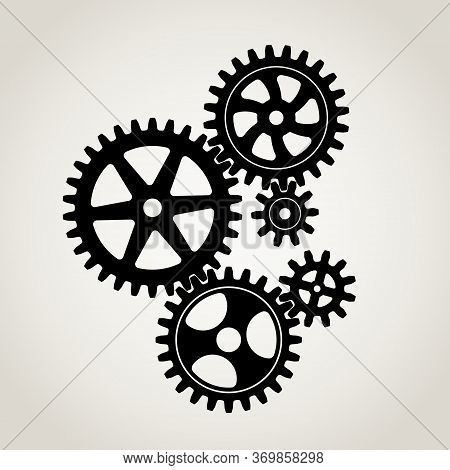 Mechanical Gears & Cogwheel Set, Large And Small Sprockets 5 Pieces, Black Silhouette. Vector Illust