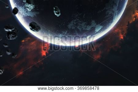 Giant Earth-like Planet In Deep Space. Elements Of This Image Furnished By Nasa