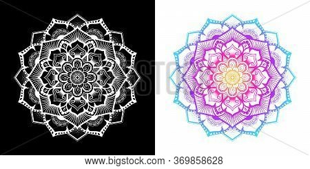 Mandala Pattern Mixed With Modern Thai Art In Floral Shape, Left Image Is Isolated White On Black Ba