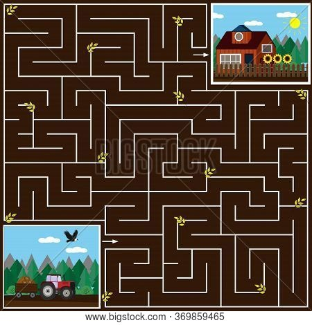 Maze Game For Kids Help The Tractor To Get Home On The Field, The Brown Background, Vector Illustrat