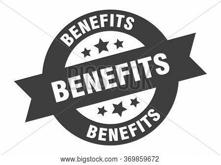 Benefits Sign. Benefits Black Round Ribbon Sticker