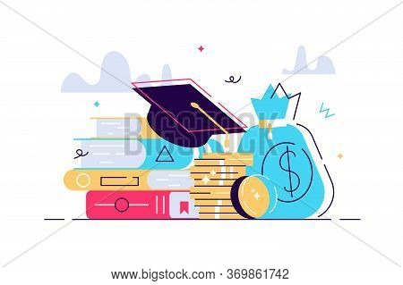 Investment In Education. Scholarship. Books, Graduation Hat And Stack Of Coins. Education In Global