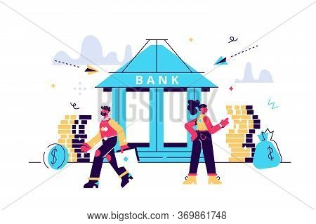 Bank Building With Piggy Bank And Small Bankers Are Engaged In Work, Bank Financing, Money Exchange,