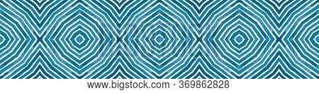 Blue Seamless Border Scroll. Geometric Watercolor Frame. Admirable Seamless Pattern. Medallion Repea