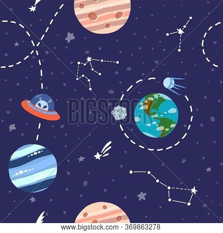 Galaxy Seamless Pattern Design. Alien Spaceship Travel. Cute Design For Kids Fabric And Wrapping Pap