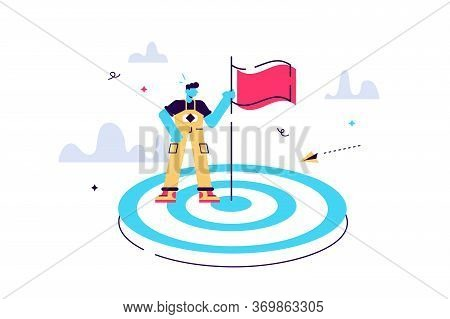 Vector Illustration Aimed At A Goal, Increase Motivation, A Way To Achieve A Goal, A Businessman In