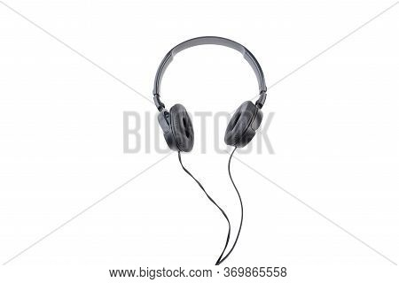 Black Wired Headphones On A White Background.
