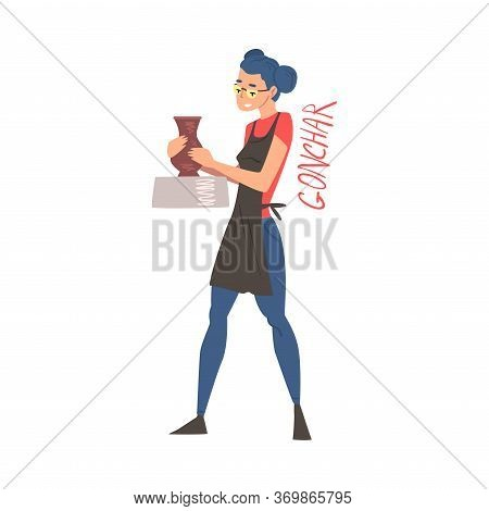 Young Woman Ceramist Making Ceramic Pot, Craft Creative Hobby Or Profession Cartoon Style Vector Ill