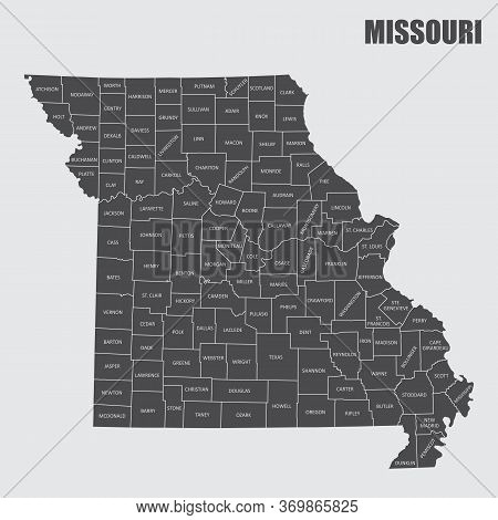 The Missouri State County Map With Labels