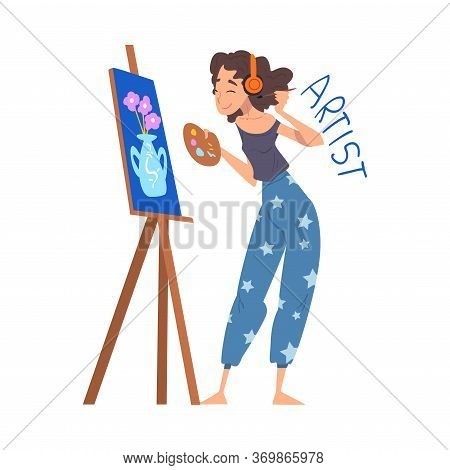 Woman Artist Painting On Easel, Creative Hobby Or Profession Cartoon Style Vector Illustration On Wh
