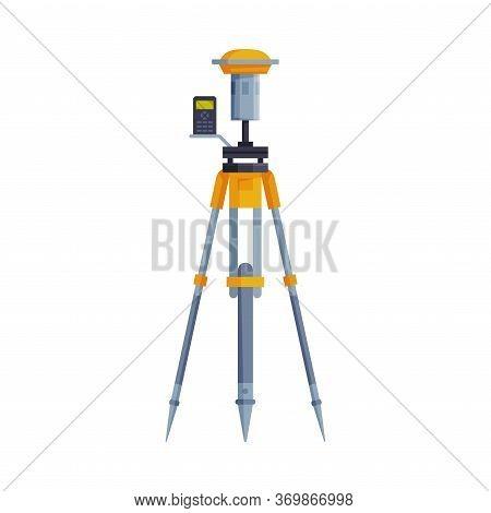 Theodolite Or Tacheometer Tripod, Geodetic Equipment, Measuring Instrument Flat Style Vector Illustr