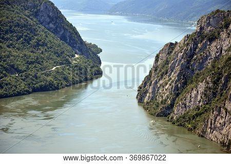 Big Kazan On Danube Near Mountain Small Strbac In The Djerdap Gorge