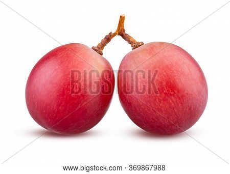 Red Grapes On White Background, Bunch With Two Grape Berries Isolated Closeup. Sweet And Tasty Grape