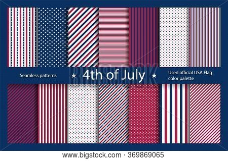 Set Usa Background With Elements Of The American Flag. Abstract Seamless Pattern Design For Independ