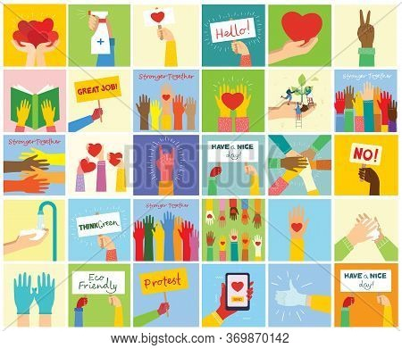 Big Set Of Different Hands Illustrations. Strong Together Many Hands Up. Hand With Book. Washing Han
