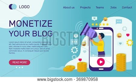 Video Blog Monetization Banner Or Landing Page Template. Video With Influencer Blogger On Smartphone