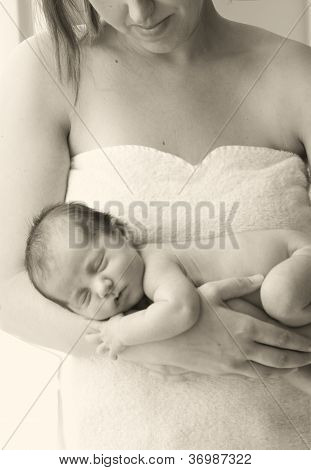 in a mother's arms