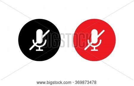 Mute Microphone Icon In Flat Style Isolated On White Background. No Mic Symbol Vector Illustration
