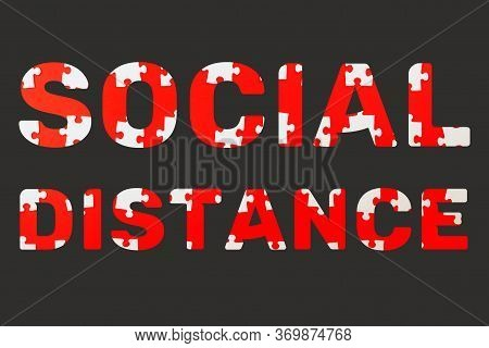 Letters Socail Distance Made Of Pattern Of The Puzzle, Disassembled Into Pieces On Red Background. C