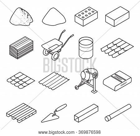 Construction Material Line Set Icon. Vector Illustration Building Material On White Background . Iso