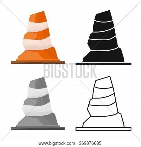 Vector Illustration Of Road And Cone Icon. Graphic Of Road And Rumpled Stock Vector Illustration.