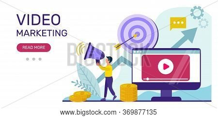 Video Marketing Concept.  Illustration Of Video, Online Advertising, Vlog. Vector Template Of A Web