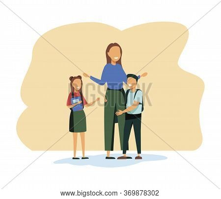 Back To School Concept With Young Smiling Woman Teacher And Group Of Kids Stand In Row In Classroom.