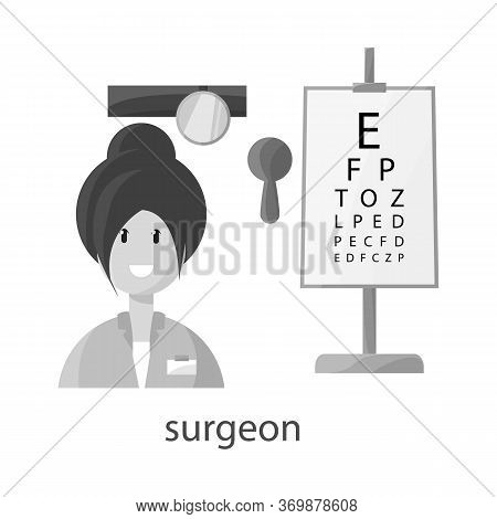 Vector Illustration Of Ophthalmologist And Woman Sign. Collection Of Ophthalmologist And Procedure V