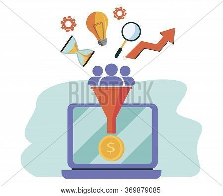 Business Funnel, Conversion, Marketing, Digital Sales Funnel Flat Line Vector With Marketing Icons I