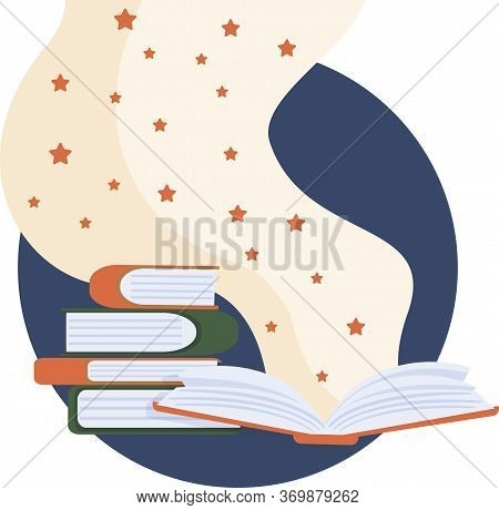 International Literacy Day Greeting Card Illustration Of Open Book With Cute Stars In Flat Style. Ch