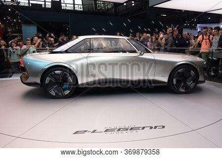 Paris, Ile De France / France - October 07 2018 : Mondial Paris Motor Show Peugeot E-legend Concept