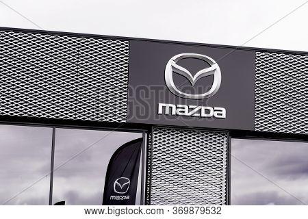 Bordeaux , Aquitaine / France - 10 02 2019 : Sign Store Mazda Automobile Dealership Shop Japanese Au