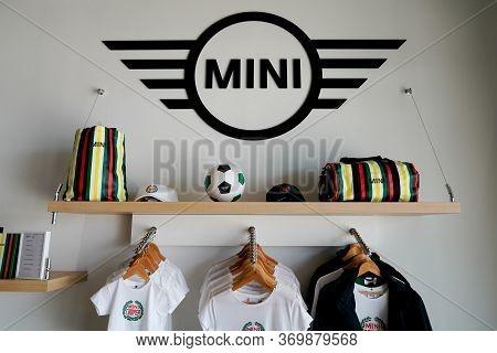 Bordeaux , Aquitaine / France - 10 15 2019 : Mini And Mini Cooper Car Store Accessories Clothing Log