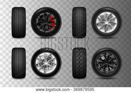 Tires Set. Car Tires With Different Tread Marks. Wheels For A Car With Brake Discs.