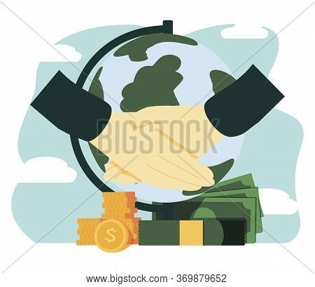 Trade Vector Illustration. Flat Tiny Success Global Financial Deals Persons Concept. Abstract Symbol
