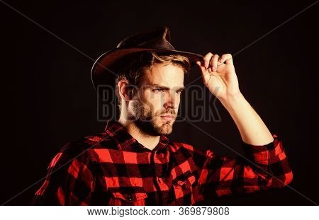 Masculinity And Brutality Concept. Archetypal Image Of Americans Abroad. Cowboy Life Came To Be High
