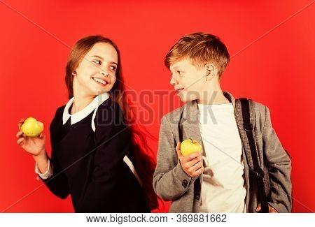 Its Break Time. Small Kids Eat Apples For Meal Break. Happy Children Enjoy School Break. Little Girl
