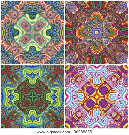 Set of vivid seamless vector patterns inspired by ancient nordic and amish motifs with holy cross in the middle poster
