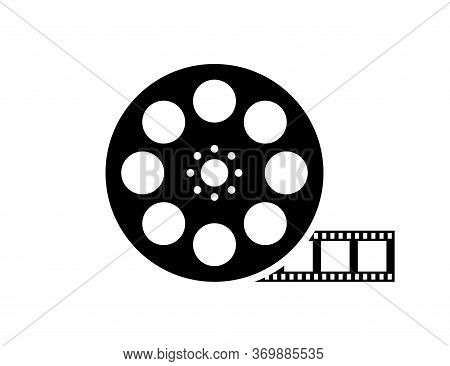 Film Reel Movie Icon. Vector Isolated Icon. Black Movie Reel Icon In Vintage Style On White Backgrou