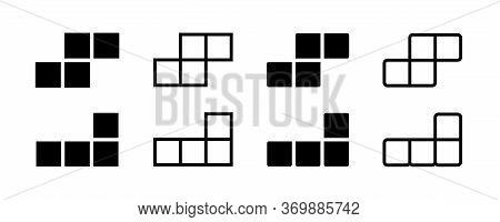 Tetris Game Vector Isolated Icons. Geometric Shape. Seamless Puzzle Design. Black Tetris Vector Icon