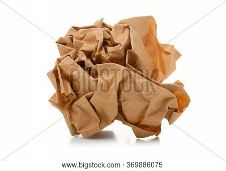 Crumpled Brown Paper On White Background Isolation