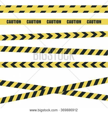 Yellow And Black Police Stripes. Collection Yellow Warning Tape Official Crime And Danger Tapes. Vec
