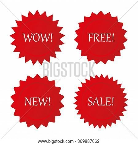 Vector Collection Retail Starburst. New, Free, Wow And Sale Arrival Tags, Sale Coupon Labels. Vector