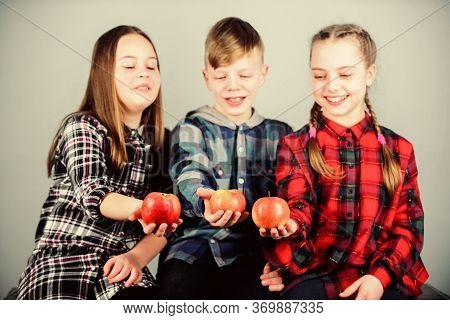 Healthy Dieting And Vitamin Nutrition. Eat Fruit And Be Healthy. Promoting Healthy Nutrition. Group