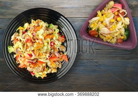 Salad With Chicken Stomachs With Vegetables Carrots, Onions, Peppers, Cabbage, Tomato, Broccoli. Sal